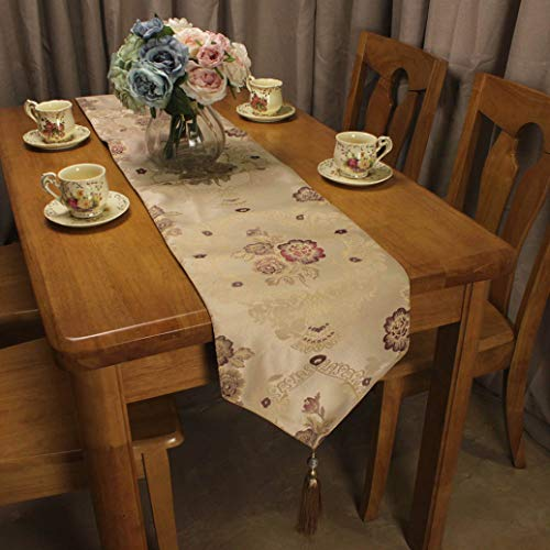 ROGEWIN Table Runners Blue Beige Jacquard Flowers for Home Hotel Restaurant American Countryside Dining Room Decorative -