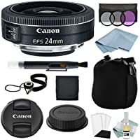 Canon EF-S 24mm f/2.8 STM Lens + Advanced Lens Accessory Kit - Includes EVERYTHING You Need to Get Started