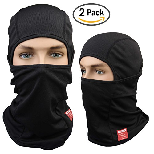 Dimples Excel Balaclava Motorcycle Tactical Skiing Face Mask (2 Pack) (Black + Black)