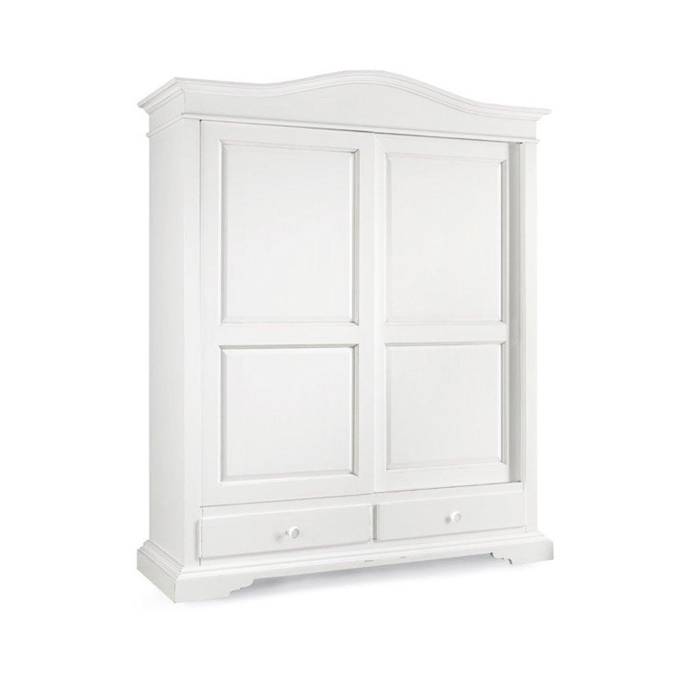 Schrank mit 2 Schiebetüren und 2 Schubladen, Stil klassisch, aus Massivholz u. MDF, Ausführung wei? matt - Ma?e 180 x 67 x 225