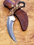 Handmade Ram Horn Handle Hunting Knife D2 Steel Karambit Blade Collection With Sheath Premium Outdoors Scythe (K55)