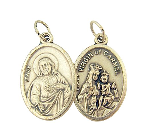 Silver Toned Base Sacred Heart of Jesus with Our Lady Mt Carmel Medal, 1 Inch, Set of 2