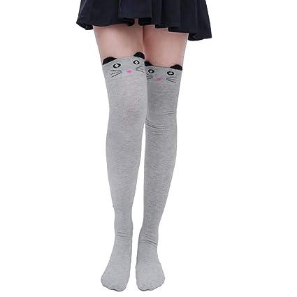 39ee687d1 Pausseo Women Tights High Spcks Over Girls Winter Cotton Stripe Warmer Lady  Soft Cotton Socks Knee