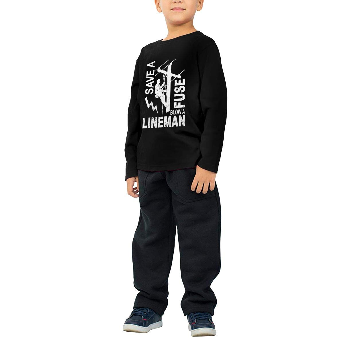 Lineman Save A Fuse Blow A Lineman Linemen Childrens Personalized Long Sleeve T Shirts Cotton Round Collar T Shirts
