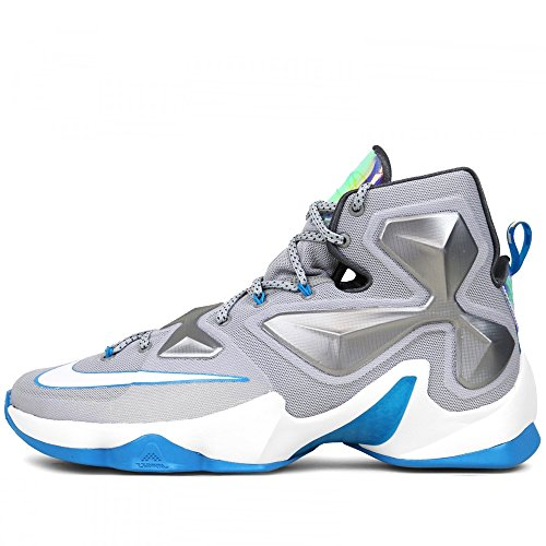 05ee896620f Galleon - Nike Men s Lebron XIII WOLF GREY WHITE-BLUE LAGOON-DARK GREY  Basketball Shoe - 9.5 D(M) US