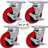 Caster Barn - 5'' x 2'' Swivel Caster Set of 4 W/Brakes - Red Crowned Poly on Iron - 3,200 LBS Per Set