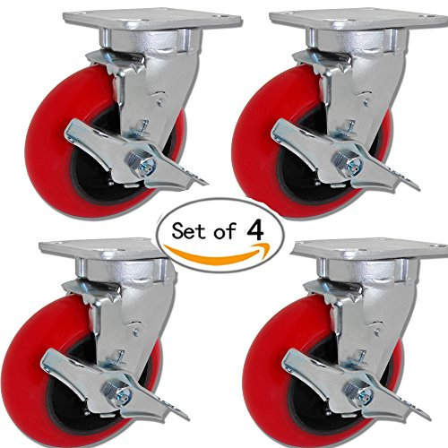 Caster Barn - 5'' x 2'' Swivel Caster Set of 4 W/Brakes - Red Crowned Poly on Iron - 3,200 LBS Per Set by Caster Barn
