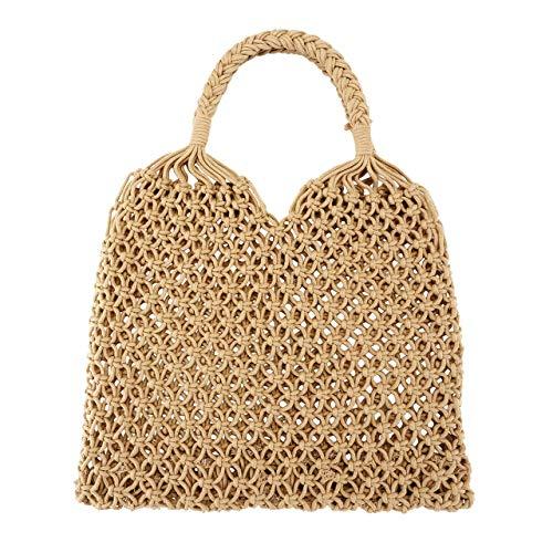 Ayliss Handmade Straw Bag Travel Beach Fishing Net Handbag Shopping Woven Shoulder Bag for Women/Girls (Khaki)]()