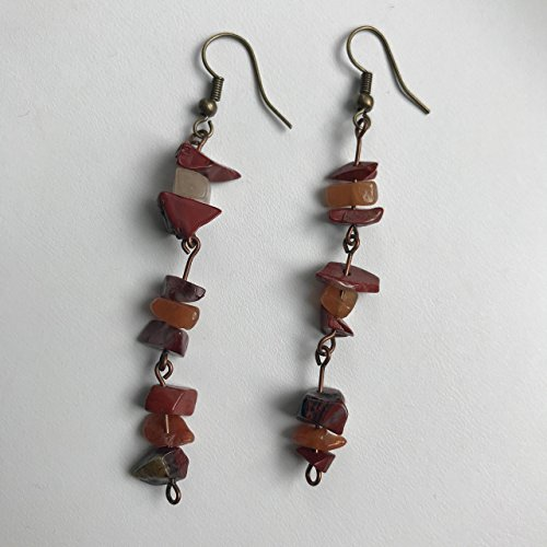 Red Jasper Stone Dangle Earrings