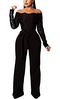 13260699b30 Sexy Club Jumpsuits for Women 2019 - Floral Lace Off Shoulder Long Sleeve  Wide Leg Pants