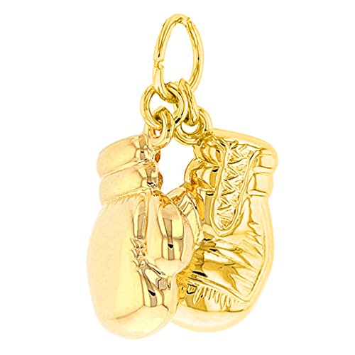 High Polish 14k Yellow Gold 3D Boxing Gloves Charm Sports Pendant 14k Gold Boxing Gloves