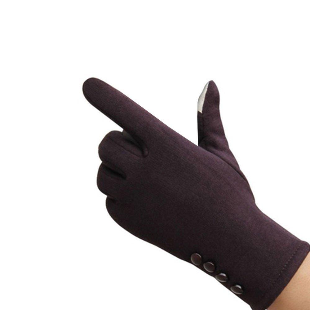 Tiptiper Guanti invernali, Guanti invernali da donna Sport invernali Guanti caldi Touch Screen Handwear Cotton Full Finger (marrone)