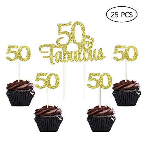 Gold Gltter Number 50 50th Birthday Anniversary Cupcake Toppers Fabulous Cake Topper Picks
