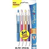 PaperMate - Bolígrafo retráctil de punta de bola (4 unidades, tinta de gel). Turquesa, rosa, naranja y morado