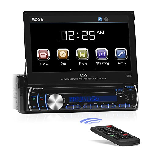 - BOSS Audio BV9986BI - in-Dash, Single DIN, Bluetooth, DVD/CD/MP3/USB/SD AM/FM Receiver, Motorized 7