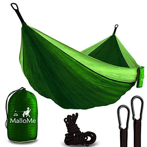 (MalloMe Hammock Camping Portable Double Tree Hammocks - Outdoor Indoor 2 Person Beach Accessories - Backpacking Travel Equipment Kids Max 1000 lbs Breaking Capacity - Two Carabiners Free)