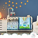 Luxurious Elephant Baby Crib Bedding Sets for Boys by Cocoon - Let Your Little One Sleep Like an Angel - Organic Cotton 3-Piece Nursery Set Including Fitted Sheet, Comforter & Crib Skirt (Set of 3)