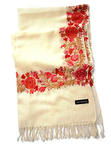 India Handmade Embroidery - Premium Soft Pashmina / Kashmir - Cream with Red Flora - 80'' X 27'' Wraps / Scarf / Scarves / Shawl / Tablecloth / Home Decoration by SukSomboonShop