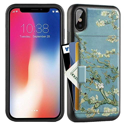 ZVE Case for Apple iPhone Xs and X, 5.8 inch, Wallet Case with Credit Card Holder Slot Slim Leather Pocket Protective Case Cover for Apple iPhone Xs and X 5.8 inch (Aries Series)- Van Gogh Bloom ()