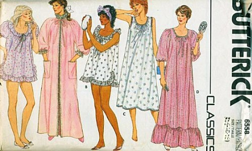 Butterick 6558 Misses Night Gown Robe Sewing Pattern