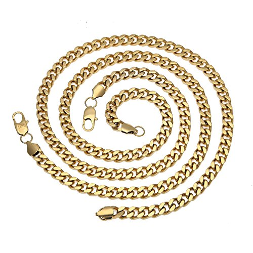 18K Men Cuban Chain Necklace 9MM Miami Link Diamond cut Round Necklace w/ real solid clasp USA PATENTED by Hollywood Products Group