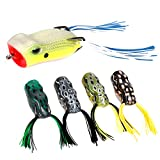 Best Lure For Bass Pikes - RUNCL Topwater Frog Lures with Twin Skirts, Soft Review
