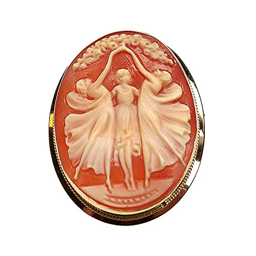 Divinci Three Graces Hand Carved Cameo 14k Gold Brooch/Pendant