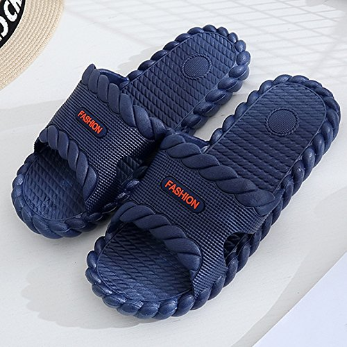 fankou Slippers Male Summer Stay Cool with a Couple of Indoor Slippers Thick Plastic Bath Anti-Slip Bath Slippers Female Soft Bottom,39-40,A- Dark Blue.
