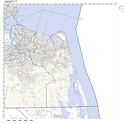 Zip Code Map Of Virginia.Amazon Com Virginia Beach Va Zip Code Map Not Laminated Home