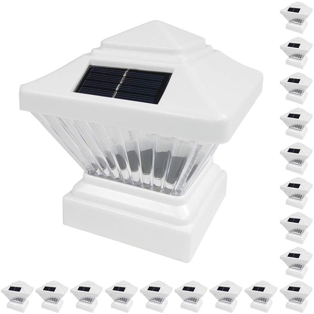 18 Pack White Outdoor Garden 4 x 4 Solar LED Post Deck Cap Square Fence Light Landscape Lamp Lawn PVC Vinyl Wood