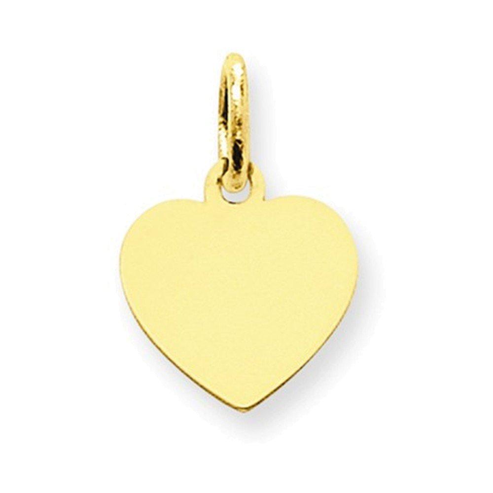 14k Plain .013 Gauge Engravable Heart Disc Charm