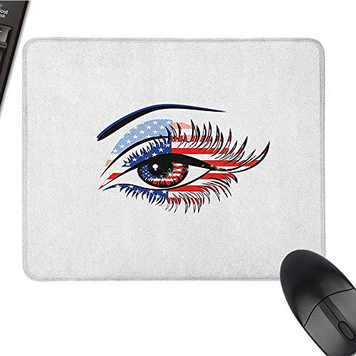 (Personalized Mouse pad Eyelash,United States Flag Pattern Female Eye Stars and Stripes 4th of July Theme, Navy Blue Red Black Waterproof Mice Pad 9.8 x11.8)