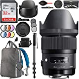 Sigma 35mm f1.4 DG HSM Art Lens for Sony E-Mount Digital Full Frame and APS-C Cameras 340965 with 67mm Multicoated UV, Polarizer & FLD Filter Kit Photography Backpack Bundle