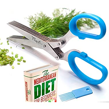 Familio - Herb Scissors - Kitchen Shear - E-BOOK bonus - Multipurpose gadgets with 5 Multi Blades and Cleaning Comb - Heavy Duty Stainless Steel - Chopper Cutter Fresh and Dry Herbs - Color Blue