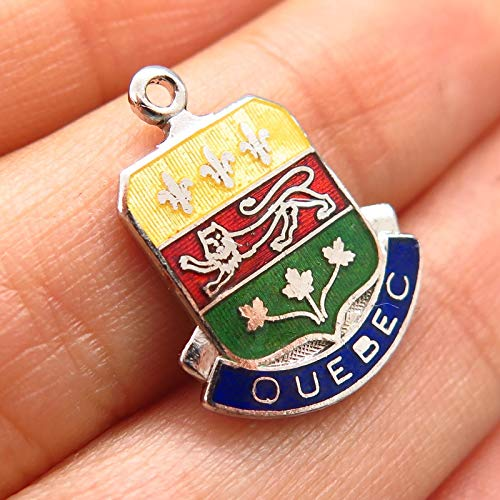 925 Sterling Silver Enamel Quebec Crest Charm Pendant Jewelry Making Supply by Wholesale Charms