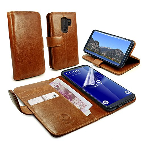 (Tuff-luv Vintage Genuine Leather Folio Wallet Case Cover & Stand for Galaxy S9 Plus - Brown)