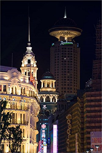 The Radisson Hotel and Neon-Lit Shopping District Along Nanjing Road, Shanghai, China by Paul Souders/Danita Delimont Laminated Art Print, 33 x 50 inches