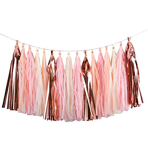 SOMADE Shiny Tassel Garland Banner Tissue Paper Tassels for Wedding, Table Decor,Baby Shower,Event & Party Decoration Supplies, DIY Kits,Pack of -