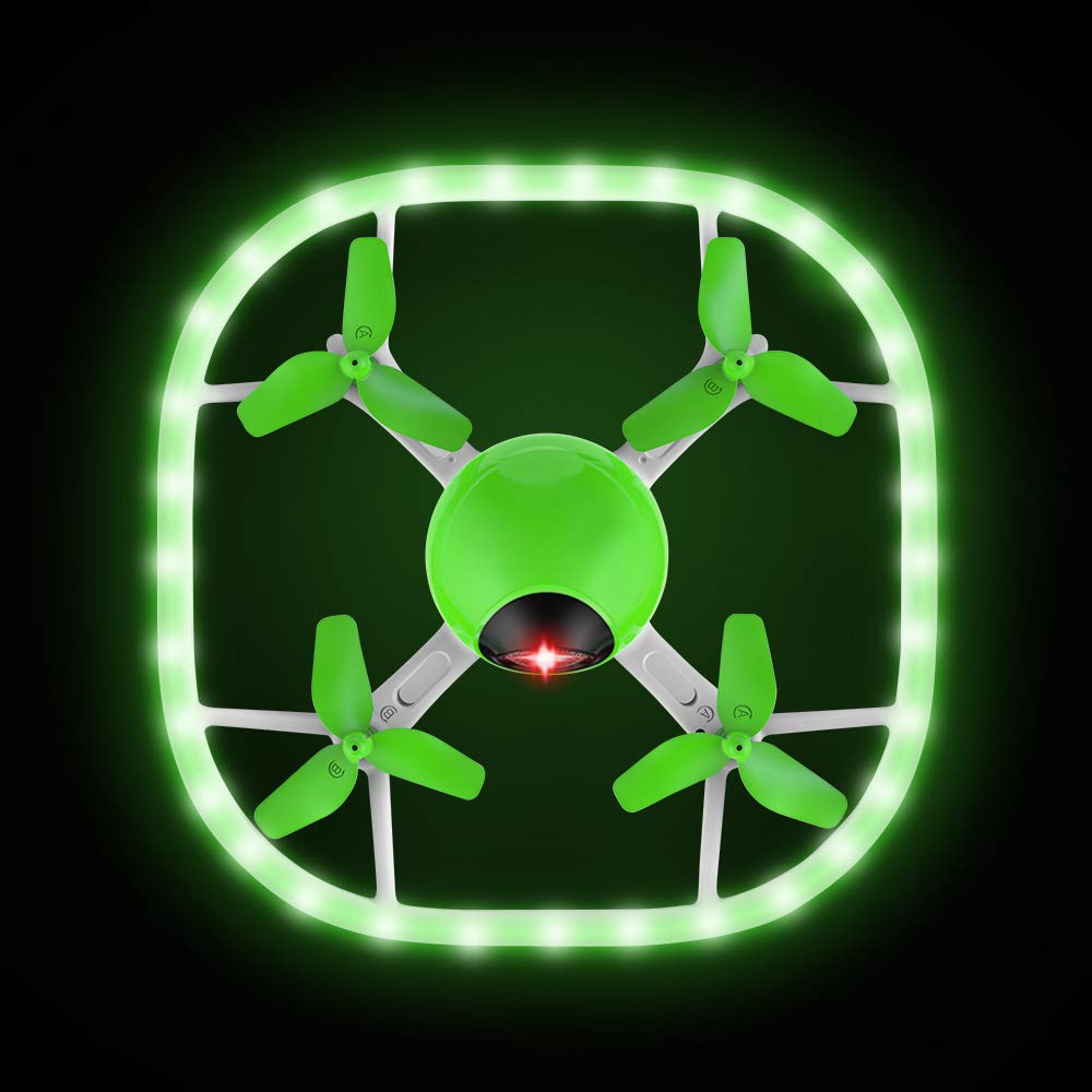 Mini Drone, Potensic U51 UFO with Led Lights, Headless Model, Colorful Night Mode, Altitude Hold Toy Drone- Green