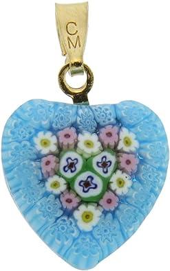Silver #2 GlassOfVenice Murano Glass Millefiori Heart Pendant