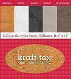 "kraft-tex® 5 - Color Sampler Pack, 10 Sheets, 8 1/2"" x 11"": Kraft Paper Fabric (Kraft Tex Kraft Paper Fabric)"