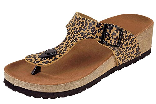 Cambridge Select Women's Thong Toe Slip On Slide Wedge Sandal (7 B(M) US, Black/Brown Leopard)
