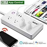 WiFi Smart Power Strip, Loonfree Smart Surge Protector with 4 USB Ports and 4 Outlets for Multip-Plug Socket Connector Extension Cord, Compatible with Alexa, Voice Controlled by Amazon Echo