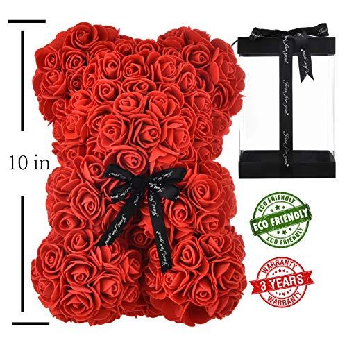 Valentines Day Teddy Bears (Flowers Rose Bear Rose Teddy Bear Best Gift for Valentines Day, Anniversary, Birthdays & Bridal Showers Fully Assembled 10 inch Bear- w/Clear Gift Box)