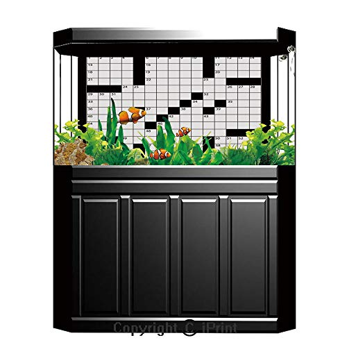 Terrarium Fish Tank Background,Word Search Puzzle,Blank Newspaper Style Crossword Puzzle with Numbers in Word Grid Decorative,Black and White,Photography Backdrop for Pictures Party Decoration,W48.03