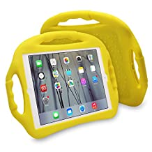JUN-Q® iPad Air Case,Soft Silicone Portable Child-safe Kids Proof Shockproof Kickstand Protective Case Cover with Three Handles for Apple iPad 5/Air (Yellow)