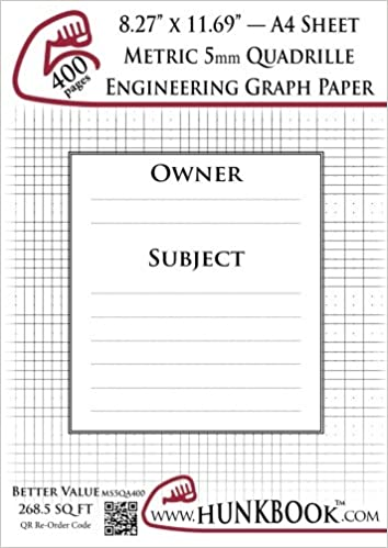 Engineering Graph Paper (400pages/White): Metric 5mm Quadrille - A4