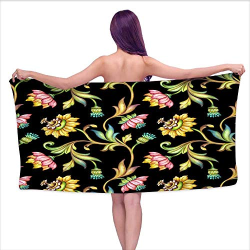 Luxury Hotel & Spa Bath Towel seamless floral pattern medieval background watercolor hand painted illustration colorful flowers and leaves isolated on black vintage botanical wallpaper,W31