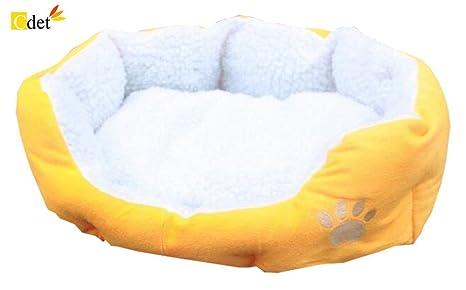 Cdet Cama para mascotas redonda o de forma oval dimple fleece nesting perro cueva para gatos y perros pequeños,46cm*42cm,Amarillo: Amazon.es: Productos para ...