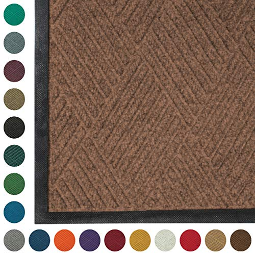 WaterHog Diamond | Commercial-Grade Entrance Mat with Rubber Border - Indoor/Outdoor, Quick Drying, Stain Resistant Door Mat (Medium Brown, 3' x 4')